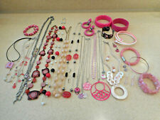 Huge 31 Pc Lot Vintage/Estate/Now Pink Color Costume Jewelry ALL WEARABLE 1+Lbs