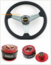 350MM TI DISH Style Flat Dish Racing STEERING WHEEL & RED Quick Release QR02