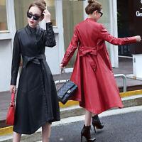 L-5XL Frauen Gürtel Slim Fit Stehkragen Kleid Jacke Trenchcoat Mäntel Einfarbig