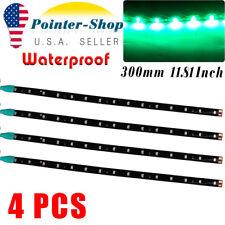 4PCS 1Ft Green Car Motor Truck ATV LED Flexible Strip Light Bar Waterproof 12V
