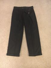 Geoffrey Beene Casual Slacks Size 36 X 32 Pleated Black With Cuffs