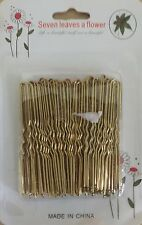 48x Gold Waved Hair Grips Slides U Clips Bun Wavy Pins pitching Jura accessory