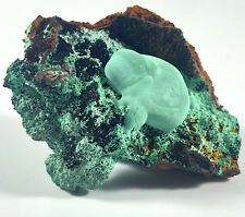 Bright Teal Blue Rosasite on Matrix From Mexico