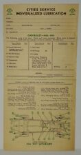 "1932 1933 CHEVY CHEVROLET ""CITIES SERVICE"" LUBRICATION RECORD"