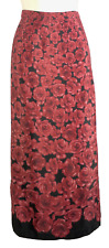Womens Christopher Banks Red and Black Skirt Size 4 Rose Pattern Long Length