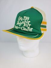 "Vintage 3 Stripe Funny Trucker hat Green & Yellow ""love thy neighbor..get caught"