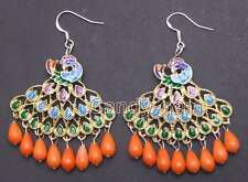 Fashion 40mm Multicolor Peafowl Pendant with drop Pink coral dangle earring-e417