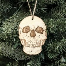 Ornament - Skull - Raw Wood 3x4in