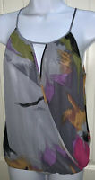 Renee C. Halter Top Shirt Blouse Sz MEDIUM Gray Purple Tie Back Draped EUC