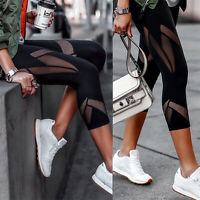 Women's Yoga Workout Running Sport Gym Sport Pants Leggings Fitness Black Mesh