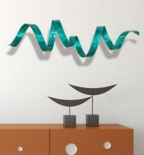Jon Allen Metal Art Teal Blue Wall Twist Sculpture Accent Modern Abstract Decor