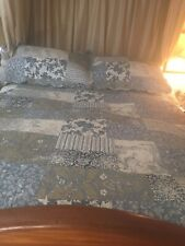 New 240x260cm Double Patchwork Quilted Bedspread And 2x Matching Pillow Cases