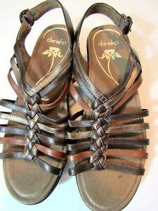 DANSKO Brown Strappy Clog Comfort Sling-back Sandals Size 39 EUR (8.5 USA)