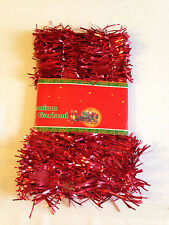 Christmas Tinsel Garland Festive  9 Ft. Red