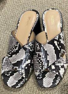NEW Michael Kors BLOCK HEEL Sandals SLIP ON Leather 6.5 SNAKE PRINT PV19K NWOB