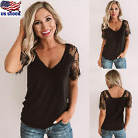 Womens Ladies Lace Short Sleeve Tops Summer V Neck Solid Loose T Shirt Blouse US