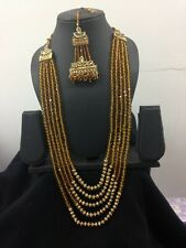 New Indian Necklace and Tikka Costume Jewellery Set Stones Beads Bridal Party
