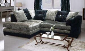 *** BRAND NEW*** Crystal Black & Silver Crushed Velvet Fabric Corner Sofa Cheap