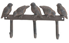 "Birds On Fence 3 Hooks Cast Iron Wall coat towel Rack home decor triple 10"" Wide"