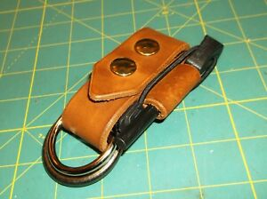 "New Leather Belt Strap, Knife Sheath Dangler, 1 1/2"" D+ O Spring Clip, Ferro Rod"