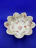 Antique Porcelain Pre-1919 Bowl Hand Painted Floral Three Footed Scalloped Edge