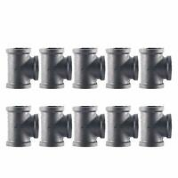 3/4 Inch Tee Pipe Fitting Threaded Pipe Nipples for Plumbing Pipe Shelf 10 Pack.