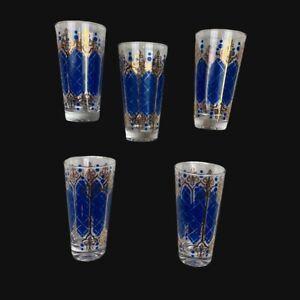 Set Of 5 Mid-Century Culver Blue And Gold Fleur -De -Lis Glasses/Tumbler Set
