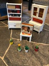 Vintage Lundby dollhouse Furniture. BOOKCASE, HUTCH  TV , TABLE AND PLANTS