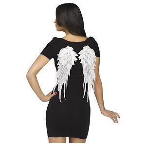 Women's Applique Angel Devil Lace Halloween Costume Wings Accessory Black White