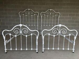 ANTIQUE CAST IRON VICTORIAN STYLE TWIN BEDS - A PAIR