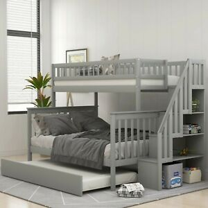 Gray Wood Twin/Full Bunk Bed w/ Trundle & Storage Shelves Day bed