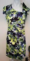 LADIES DESIGNER ANONYMOUS FLORAL  DRESS UK14 Green White Blue