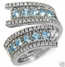 1.95ctw Diamond & Aquamarine Ring 18k Solid White Gold