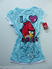 "Angry Birds Girls ""Winning"" Sparkly Graphic T-Shirt size Medium NWT G82558"