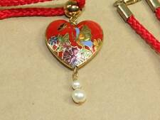 "VTG Red Cloisonne Enamel Butterfly Heart Faux Pearl Pendant & 28"" Chord Necklace"