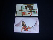 (2) single Car Windshield Mod Pin Up Girls playing cards - Vintage 1960's