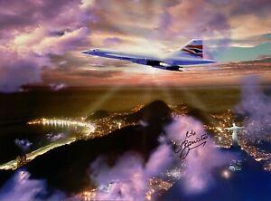 CONCORDE HAND SIGNED 16X12 PHOTOGRAPH OF CONCORDE FLYING OVER RIO DE JANEIRO