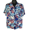 George Mens L Rayon Hawaiian Shirt Red White Blue Tropical Floral Islands