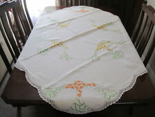 GORGEOUS HAND EMBROIDERED PURE LINEN FLORAL TABLECLOTH