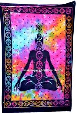 Indian Seven Chakra Handmade Tie Dye Cotton Poster Tapestry Wall Hanging Throw