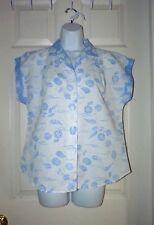 VTG. Women's med size 12 CABRAIS Seashell floral print pleated shoulder Summer