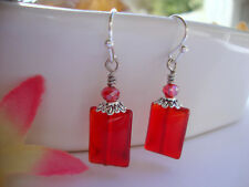 Rectangular Transparent Red Glass Cherry Crystal Silver Dangle Earrings