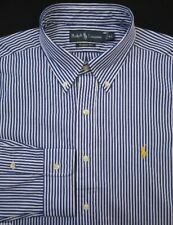 NWT Men's Ralph Lauren Classic Fit Long Sleeve Navy Blue White Stripe Shirt 4XB