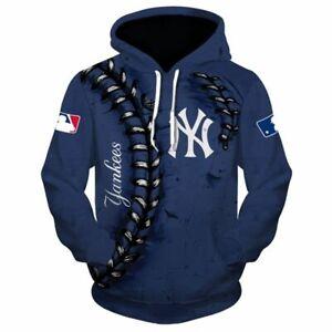 New York Yankees All Over Printed Hoodie , New York Yankees Blue Pullover Hoodie