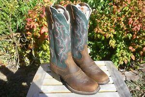 Women's NIB 6 B M Justin Dark Brown Rawhide & Blue Square Toe Cowboy Boots L7305