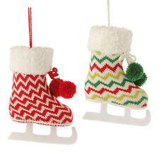 "RAZ Imports 7.5"" Knit Ice Skate Skating Ornaments Set/2 Chevron Christmas NEW!"