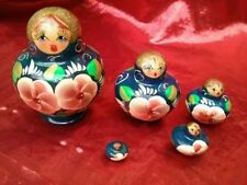 "Nesting Doll Russian 5 Pieces Blue Roses Glitter 3"" tall 2 1/2"" widest"
