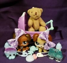 Authentic Hasbro Littlest Pet Shop LPS Baby Boxer Blue Eyes #657 143 Stroller