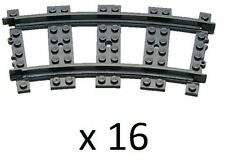 NEW GENUINE LEGO RC 16x Curved Train Tracks for 7938 7939 3677 60052 60098 60051