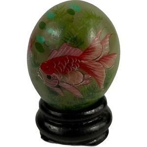 Hand painted miniature decorative Chinese egg w/ stand Jade Alabaster stone egg